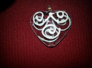 Small glass heart ornament