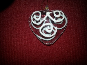 Small glass heart ornament